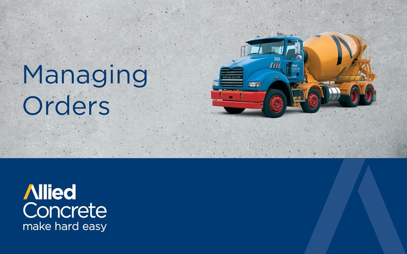 Managing Your Concrete Orders | Allied Concrete